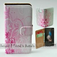 For Huawei Series - Pink Floral Theme Print Wallet Mobile Phone Case Cover