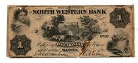 1861 NORTH WESTERN BANK WARREN PA $1 BANKNOTE