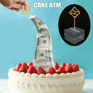 Cake ATM Money Box Pulling Cake Topper Surprise Gift for Birthday Party Decor