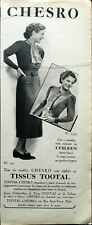 Chesro Clothes All Chesro Models are Made from Total Fabrics Vintage Advert 1937
