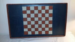"""Hand Painted Primitive Folk Art 20"""" by 12"""" Game Board Wall Plaque Checkerboard"""