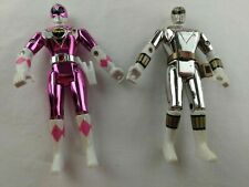 Lot of 2 Vintage 1995 Bandai Metallic Power Rangers Action Figures