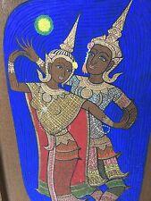 Tibet Goddess Dancer Bright Color Painting on Vintage Solid Wood By Artist UDOM