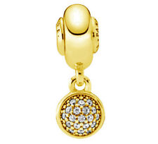Genuine PANDORA Hope Essence Hanging Silver Charm 14k Gold Plated 796090CZ
