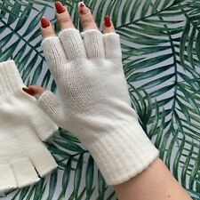 New White Ivory Fingerless Winter Gloves