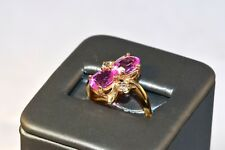 Astounding 10k Gold Pink Sapphire Must See Pictures Ring Size 5.25 A35-835 Glows