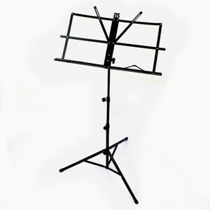 Black Folding Sheet Music Stand Score Holder Mount Tripod with Carrying Bag