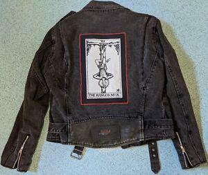 Harley Davidson Black Denim Motorcycle Jacket with Back Patch (Punk, Metal) SzM