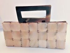 Tiny Shiralea mother of pearl clutch bag with tortoise shell handle satin lined