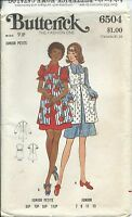B 6504 sewing pattern A-line DRESS high-waisted SMOCK sew vintage 1970 junior 9