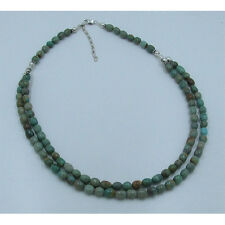 2 Strand .925 Sterling Silver Natural Multi-Green Kingman Turquoise Necklace