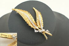 RARE VINTAGE HM 18ct GOLD DIAMOND DOUBLE FERN LEAF BROOCH