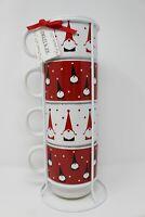 NEW Signature Jingles & Joy Gnomes Coffee Mugs Set 4+ Stand NEW Christmas Gnomes