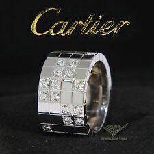 Cartier Lanieres 18k White Gold Diamond Ring Size 56 7.5 US