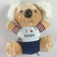 """Koala Bear Plush VTG I Love Daddy Stuffed 9"""" Toy Father Heart Teddy Cute Cuddly"""