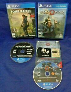PS4; God of War, w/Insert, Shadow of the Tomb Raider Definitive Ed., Discs LN