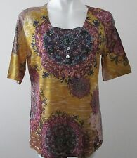 APPROPRIATE BEHAVIOR L/G (12-14) gold polyester casual short sleeve knit top