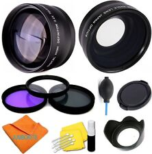 58Mm 3 Lenses + Filter Set + Accessories For Canon Eos Rebel Dslr