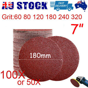 """180mm/ 7"""" Plaster Drywall Sanding Discs Pads Hook Loop 60-320 / Mix Grit 50/100X"""