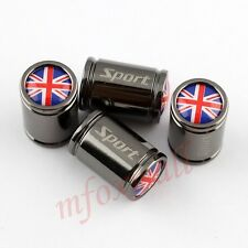 4X Titanium Vehicle Wheels Tyre Tire Valve Cap Cover United Kingdom UK Flag Logo