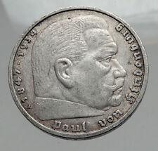 1936 Germany 2nd President Paul von Hindenburg Silver German 5 Marks Coin i62895