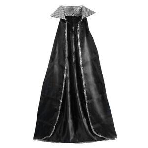 """52"""" Silver Sequin Black Cape ~ HALLOWEEN MASQUERADE VAMPIRE MAGICIAN COSTUME"""