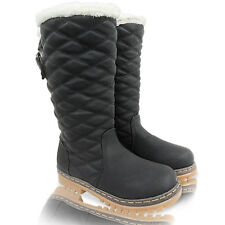 NEW WOMENS LADIES KNEE HIGH CALF FUR LINED GRIP WINTER SNOW BOOTS SHOES SIZE