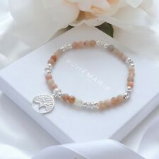 Sunstone Sterling Silver Tree Of Life Beaded Bracelet Crystal Stacking Jewellery