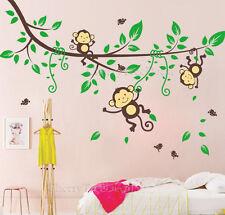 Selva Mono árbol Aves Animales Infantiles Niños Niños decoración pegatinas de pared calcomanías