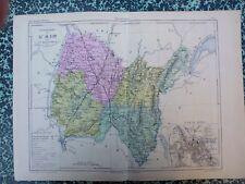 Carte géographique couleur 19°: L'AIN avec le plan de BOURG