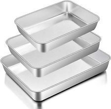 Baking Pans Set Of 3, Stainless Steel Sheet Cake Pan For Oven -