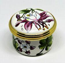 Halcyon Days English Enamel Box - Tiffany & Co. - Orchids - Flowers - Mib