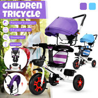 4 In 1 Baby Kids Reverse Toddler Tricycle Bike Trike Ride-On Toy Stroller Prams