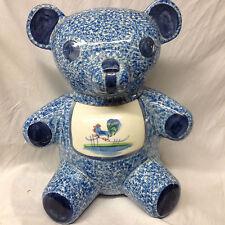 LOS ANGELES BLUE STIPPLE WITH ROOSTER TEDDY BEAR SHAPED COOKIE JAR BLUE SPONGE