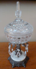 Vintage glass candy dish with lid, 10 prisms, cast metal & marble base L&LWMC