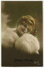 c 1920 French glamour FUR MUFF BEAUTY tinted antique photo postcard