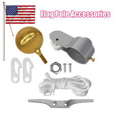 Flag Pole Replacement Parts Repair Kit Truck Pulley Halyard Cleat Clips Rope Set
