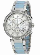 Michael Kors MK6138 Parker Chambray MOP Women Crystals Blue Acetate Steel Watch