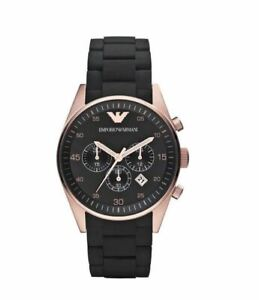 100% AUTHENTIC EMPORIO ARMANI GOLD,BLACK SILICONE WRAPPED BRACELET WATCH AR5905