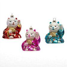 """SET OF 3 LUCKY FORTUNE CAT GLASS CHRISTMAS ORNAMENT 3"""" Maneki Neko NEW Good Luck"""