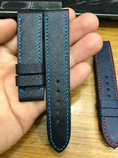 BLACK GENUINE SAFFIANO LEATHER SKIN WATCH STRAP BAND 22mm QUICK RELEASE