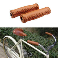 Handlebar Grips Vintage Bicycle Grips Retro Cycling Grip Leather Bicycle Grips