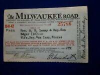 RARE 1941 - 1942 Railroad Pass Chicago Milwaukee St Paul & Pacific Railroad Co