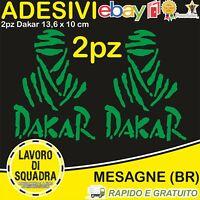 2 Adesivi Dakar Paris Africa Honda KTM Vinile Decalco Moto Stickers VERDE GREEN