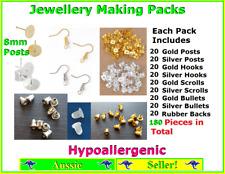 180 Piece DIY Jewellery Making Pack Set Kit Earring Hooks Backs 8mm Posts Pads