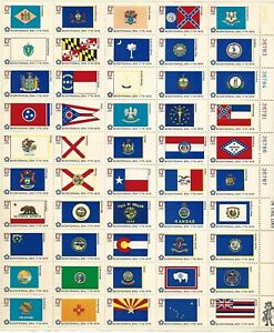 1976 13-cent US stamps Bicentennial State Flags, full sheet of 50