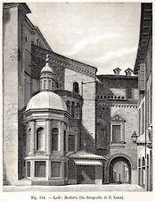 Lodi: il Broletto. Lombardia. Stampa Antica + Passepartout. 1894