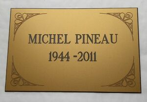Plate Engraved Funeral 2 To 4 Lines + Embellishments Format 170x115 MM