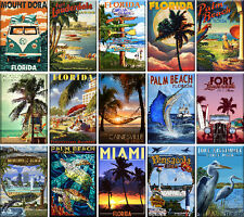 15 Fridge magnets - Florida - Vintage Travel Poster - 90x60 mm (3.5x2.4'')