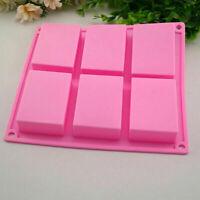 6 Hohlraum Square Kuchen Silikon Seifen Form DIY für Kuchen Tablett Liefern J5T9